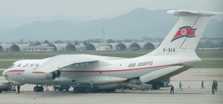 North Korea's Air Koryo freight plane parked at Noi Bai International Airport in Vietnam's capital of Hanoi, on Feb. 24. Yonhap