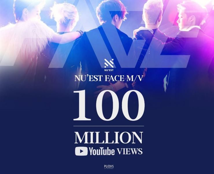The poster celebrating 100 million YouTube views of the music video for NU'EST's debut song 'Face.' Captured from Twitter