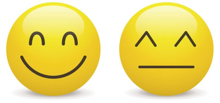 The U.S. version of the smiley face emoji, left, comes from a 'toothy' smile, whereas the Japanese emoji features smiling 'eyes,' according to a Japanese scholar. Korea Times graphic by Cho Sang-won