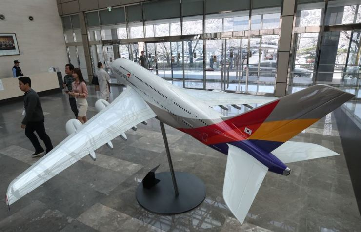 A model of an Airbus A380 airliner is displayed at Asiana Airlines headquarters in Gangseo-gu, Seoul, Monday, when its parent company Kumho Asiana Group announced it will sell the carrier to cope with a liquidity crisis. Yonhap