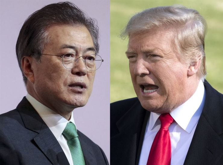 President Moon Jae-in, left, delivers his address in Singapore, 13 July 2018, and U.S. President Donald Trump speaks during a press conference in Washington. EPA-Yonhap