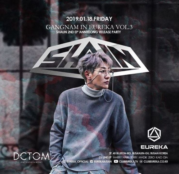 A promotional poster for the release party at Eureka in Busan for Shaun's second single 'Annyeong.' Screen capture from Instagram