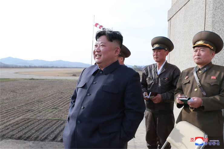 North Korean leader Kim Jong-un visits the Unit 1017 of the Air and Anti-aircraft Force of the Korean People's Army on Tuesday, according to the Korean Central News Agency. Yonhap