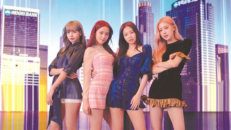 Members of BLACKPINK, Woori Bank brand ambassadors, pose in the Woori Bank commercial, 'It's ME, It's WE,' in this photo provided by the lender, Thursday. The bank said the ad would be released on its social media platforms Friday. It will be released on TV and radio from Saturday. The four-member girl group released its latest album 'Kill This Love' earlier this year. / Courtesy of Woori Bank