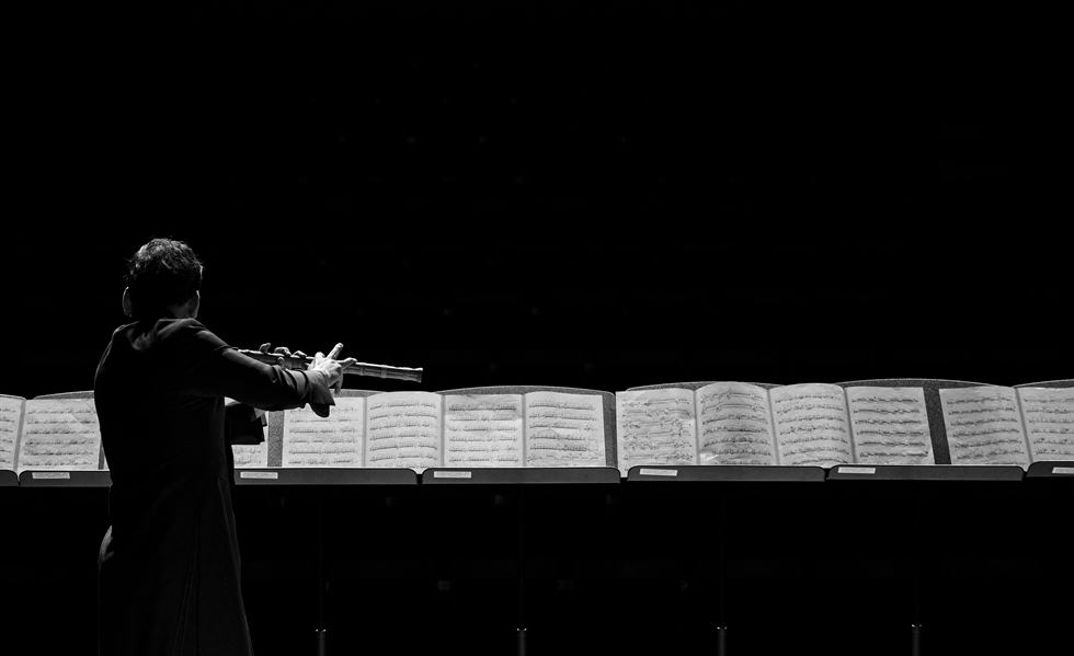 Daegeum player Yoo Hong rehearses on stage at Sejong Center for the Performing Arts in Seoul. Courtesy photo of Nah Seung Yull
