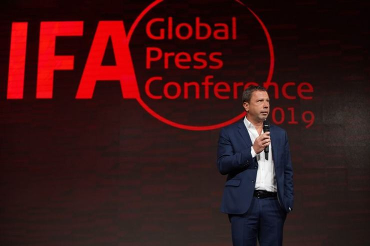 IFA Executive Director Jens Heithecker speaks during 2019 IFA Global Press Conference in Andalusia, Saturday. Courtesy of IFA