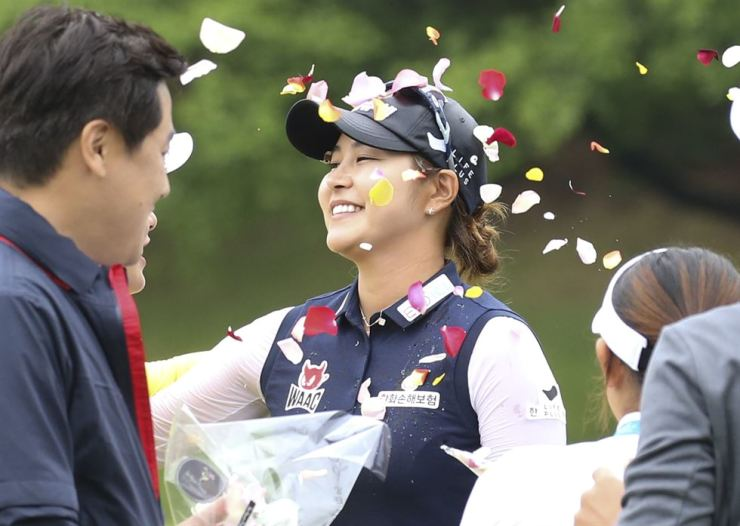 Kim Ji-hyun celebrates after winning the 2019 Doosan Match Play Championship at the Ladena Golf Club in Chuncheon, Gangwon Province, Sunday. / Yonhap