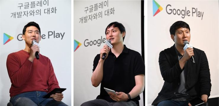 From left, Ha Chee-hoon, CEO of LifeOverflow, Lee Byung-yup, CEO of B.U.S Creative and Park Min-woo, manager of SK Telecom's home business unit, speak during a press conference at Google Startup Campus Seoul, Thursday. / Courtesy of Google Korea