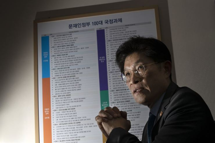 Minister for Government Policy Coordination, Noh Hyeong-ouk, speaks during an interview with The Korea Times in his office at the Government Complex Seoul, Tuesday. Korea Times photo by Shim Hyun-chul