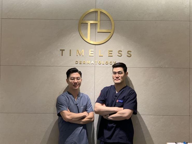 Timeless Dermatology director Dr. Shin Won-ung, left, and Dr. Lee Kyung-goo / Courtesy of Timeless Dermatology