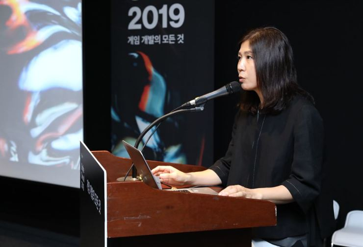 Suzie Kim, country manager of Unity Technologies Korea, speaks during a press conference at COEX in southern Seoul, Tuesday. / Courtesy of Unity Technologies Korea