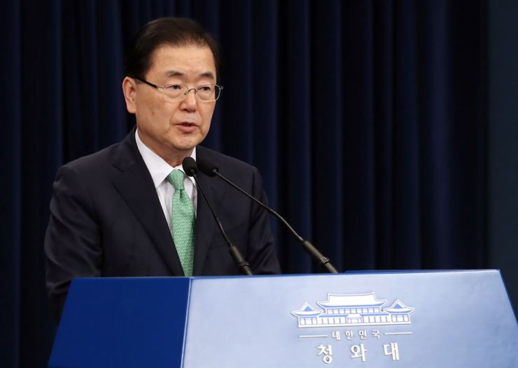 Chung Eui-yong, chief of the National Security Office, speaks in a media briefing at Cheong Wa Dae in Seoul, Friday. Yonhap