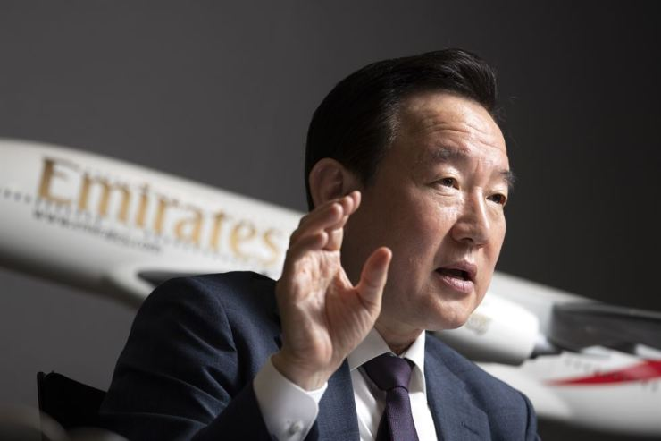 Chang Jun-mo, Emirates Airline's country manager for Korea, talks about the need to increase the number of flights between Incheon and Dubai to better meet rising demand, during an interview with The Korea Times at the airline's office in Seoul, May 9. Korea Times photo by Choi Won-suk