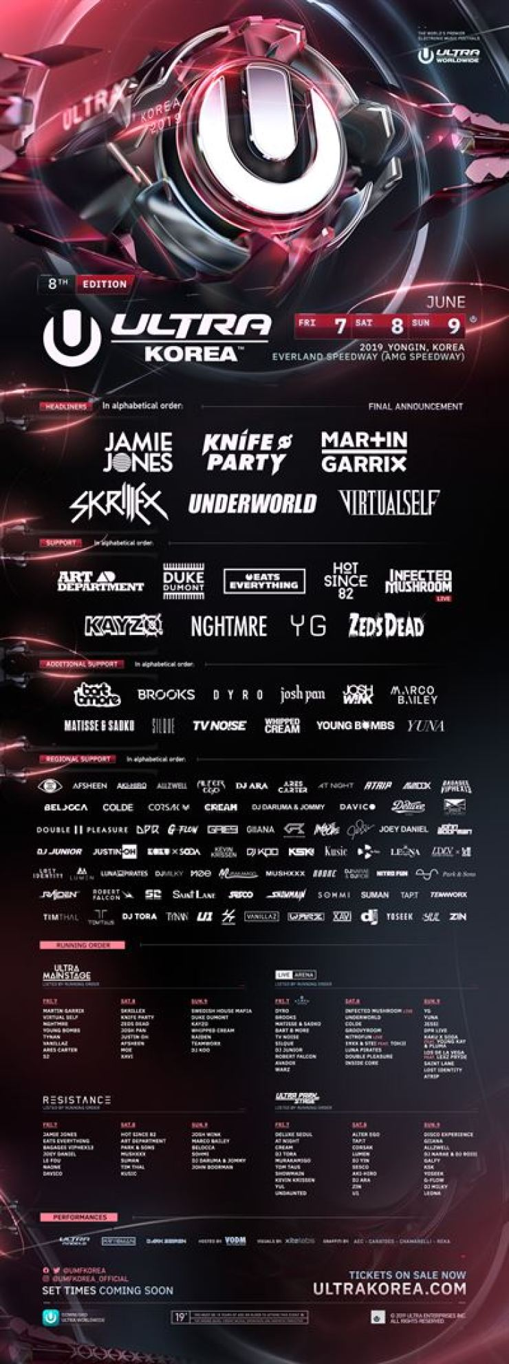 ULTRA Korea will be held on June 7-9 at Everland Speedway in Yongin, Gyeonggi Province.
