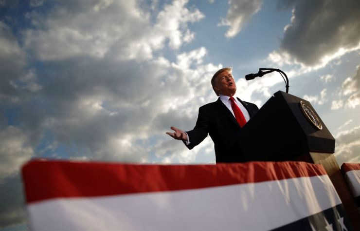 U.S. President Donald Trump addresses a Trump 2020 re-election campaign rally in Montoursville, Pennsylvania, U.S., May 20. Reuters