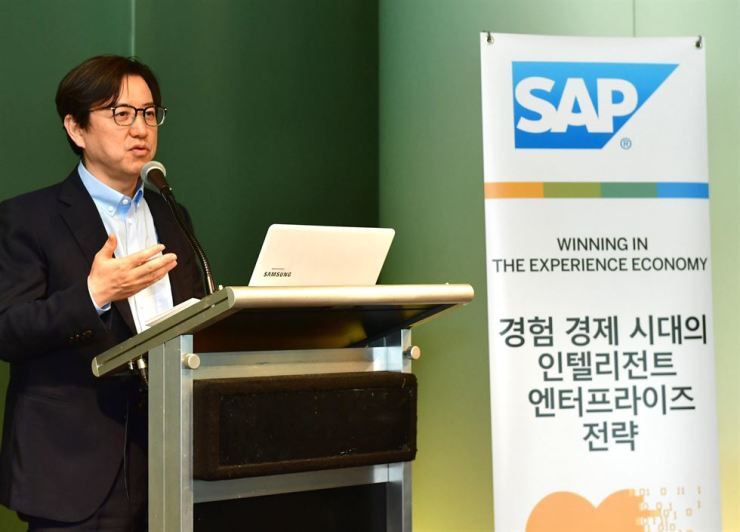 Lee Sung-youl, managing director of SAP Korea, speaks during a press conference at the Park Hyatt Hotel in southern Seoul, Thursday. / Courtesy of SAP Korea