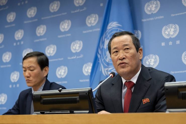 North Korea's U.N. Ambassador Kim Song addresses attendees during a news conference at U.N. headquarters on May 21. AP