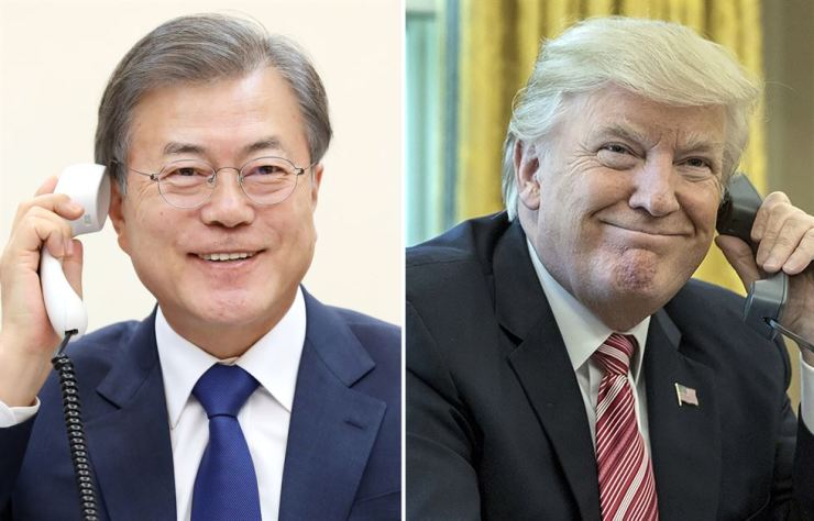 This combination photo shows President Moon Jae-in, left, and U.S. President Donald Trump, Tuesday. Yonhap