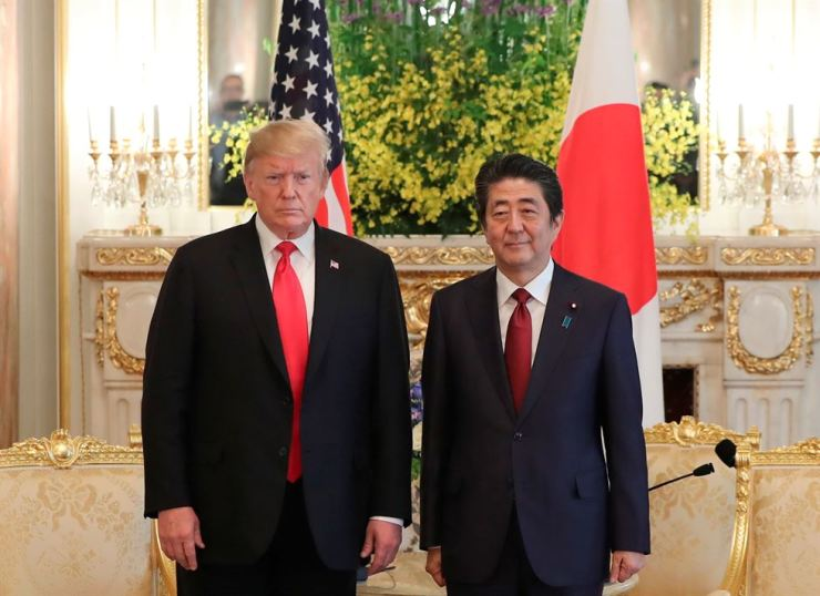 U.S. President Donald Trump meets with Japanese Prime Minister Shinzo Abe at Akasaka Palace, Japanese state guest house, in Tokyo, May 27. Reuters