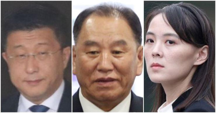 From left, Kim Hyok Chol, Kim Yong Chol and Kim Yo Jong.