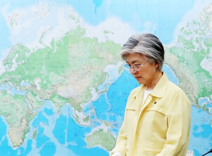 Foreign Minister Kang Kyung-wha has been under fire for blunders involving ministry officials and soured ties with North Korea and Japan. / Yonhap