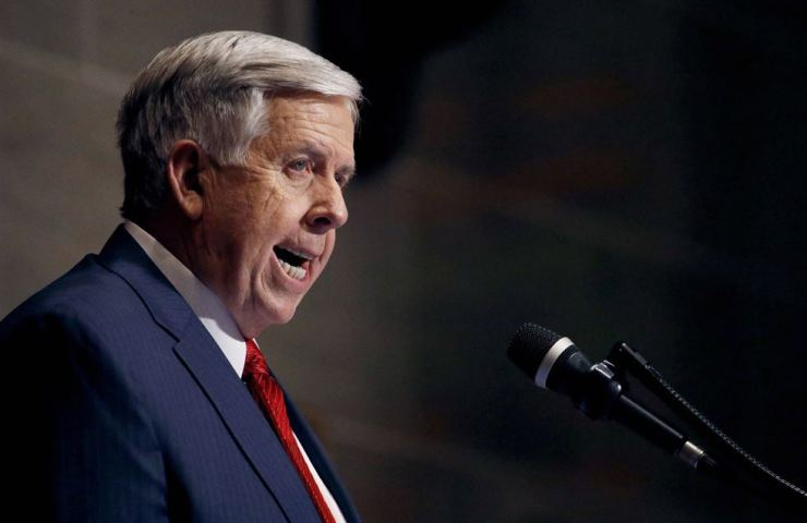 Missouri Gov. Mike Parson delivers his State of the State address in Jefferson City, Mo., in this Jan. 16 file photo. Missouri's Republican-led Legislature has passed a sweeping bill to ban abortions at eight weeks of pregnancy, and Parson is expected to sign it. AP