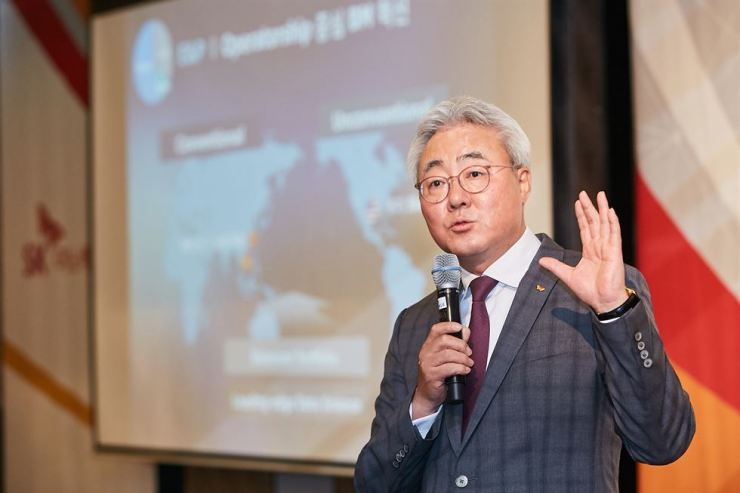 SK Innovation CEO Kim Jun speaks during a press conference at the Four Seasons Hotel in central Seoul, Monday. / Courtesy of SK Innovation