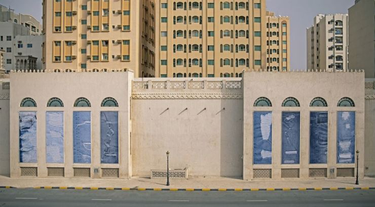 Cory Arcangel's 'Destroyed Jeans' is installed on the facade of the Sharjah Art Museum as part of Omar Kholeif's 'Making New Time' exhibition for the 14th edition of Sharjah Biennial. Courtesy of Sharjah Art Foundation
