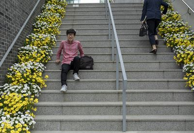 Hwang In-kyeong, 21, stands in her favorite section of the school library, Wednesday. Hwang enrolled in the Creative Writing Department at the Seoul Institute of the Arts' Ansan campus in Ansan, Gyeonggi Province, in March. / Korea Times photo by Shim Hyun-chul