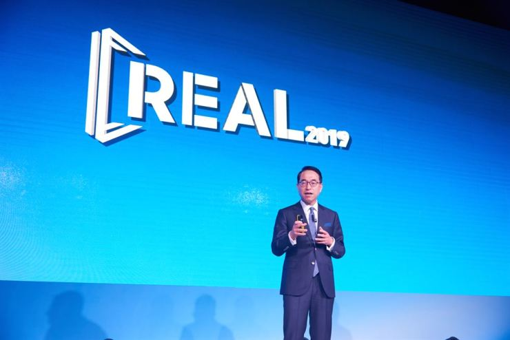 Hong Won-pyo, CEO of Samsung SDS, speaks during the REAL 2019 event at the Shilla Seoul hotel, Wednesday. / Courtesy of Samsung SDS