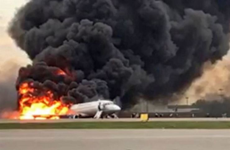 A handout photo made available by Russian Investigative Committee (Sledcom) shows a Sukhoi Superjet 100 of Russian airline Aeroflot burning at Moscow's Sheremetyevo airport, Russia, 05 May 2019. Conflicting numbers of fatalities are reported after the plane had to make an emergency landing just after takeoff for the flight to Murmansk. EPA/Russian Investigative Committee