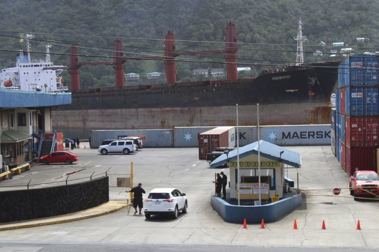 A view from the top of a two-story building in Fagatogo village overlooking the port of Pago Pago, as the North Korean cargo ship, Wise Honest, docks at the main docking section, Saturday, in Pago Pago, American Samoa. AP-Yonhap