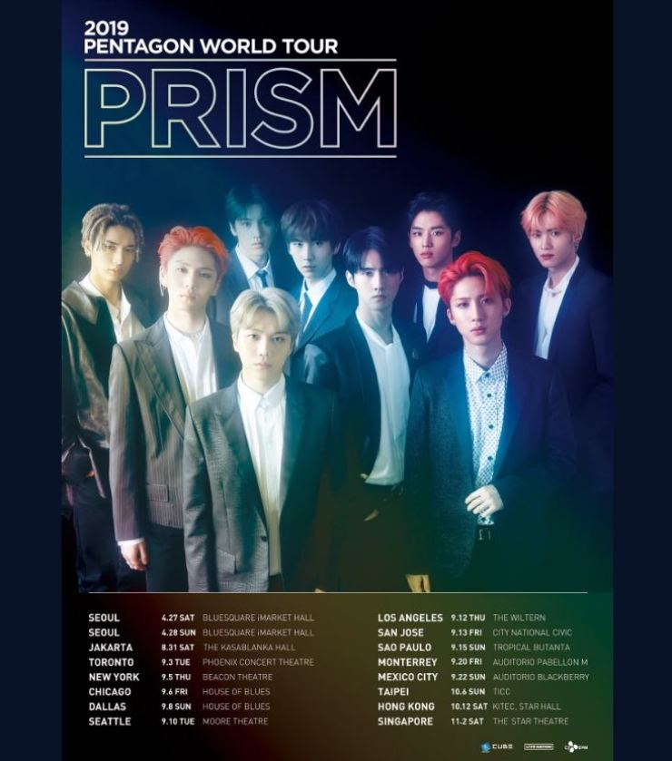 K-pop boy band PENTAGON is preparing for its first world tour ― '2019 PENTAGON WORLD TOUR 'PRISM.'' This image is the poster uploaded to the band's SNS account Thursday. Captured from Twitter