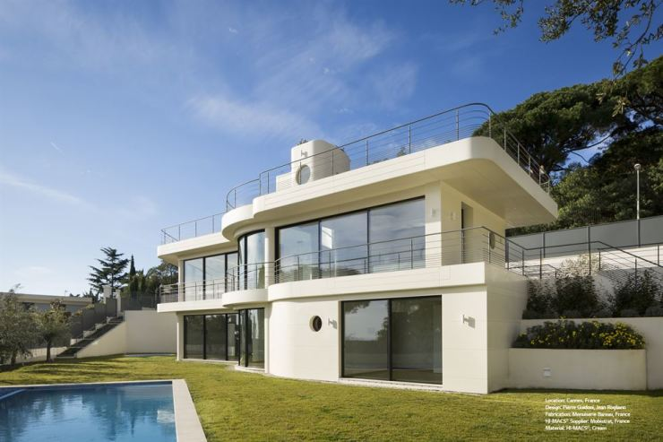 A luxury villa, located in Cannes, France that uses LG Hausys's artificial marble products on its exterior is seen in this photo provided by the firm, Thursday. / Courtesy of LG Hausys