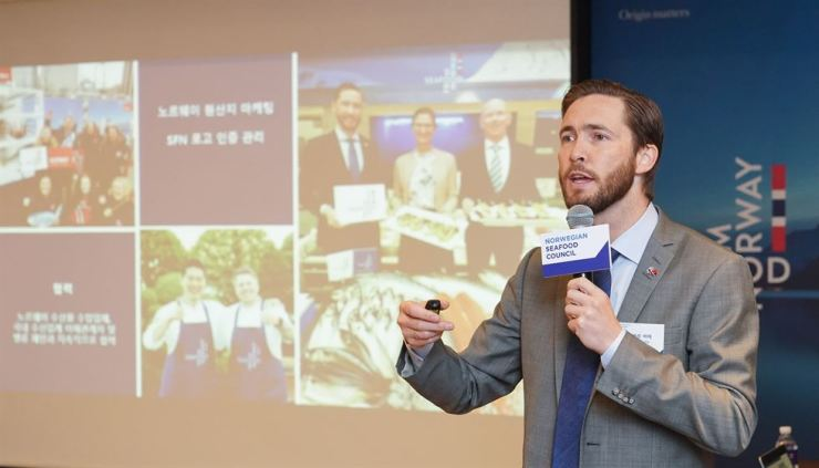 Gunvar Lenhard Wie, director of the NSC for the Korean and Japanese markets and Counsellor at the Norwegian Embassy in Korea, speaks at a press conference at The Plaza Hotel in Seoul, Wednesday. / Courtesy of Norwegian Seafood Council