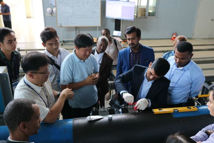 Officials from other countries learn techniques for checking water leaks during a training program of K-water at the corporation's facility in Daejeon, in this September photo. / Courtesy of K-water
