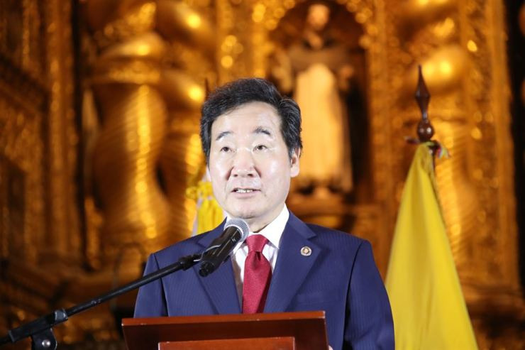 Prime Minister Lee Nak-yon speaks at church La Compania de Jesus in Quito, Ecuador, May 7. Yonhap