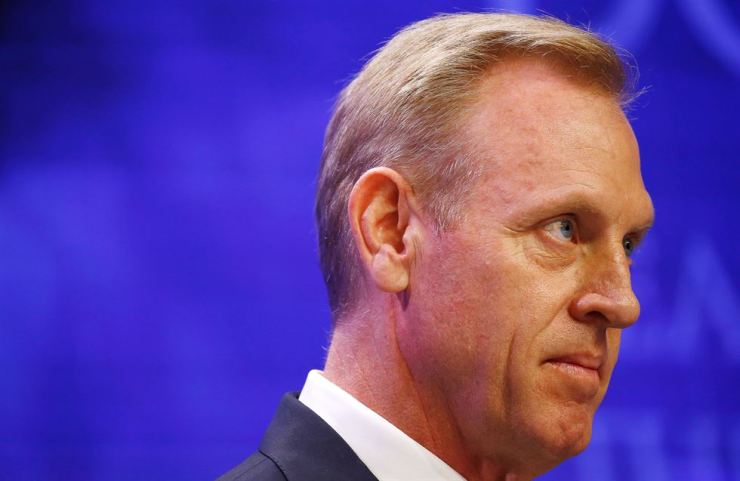 Acting U.S. Defense Secretary Patrick Shanahan looks on during the IISS Shangri-la Dialogue in Singapore, Saturday. Reuters-Yonhap