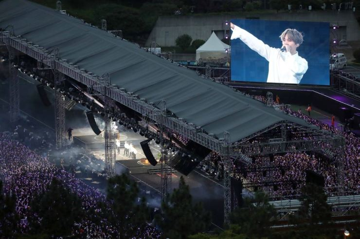 BTS's first concert in Busan drew more than 25,000 fans. Yonhap