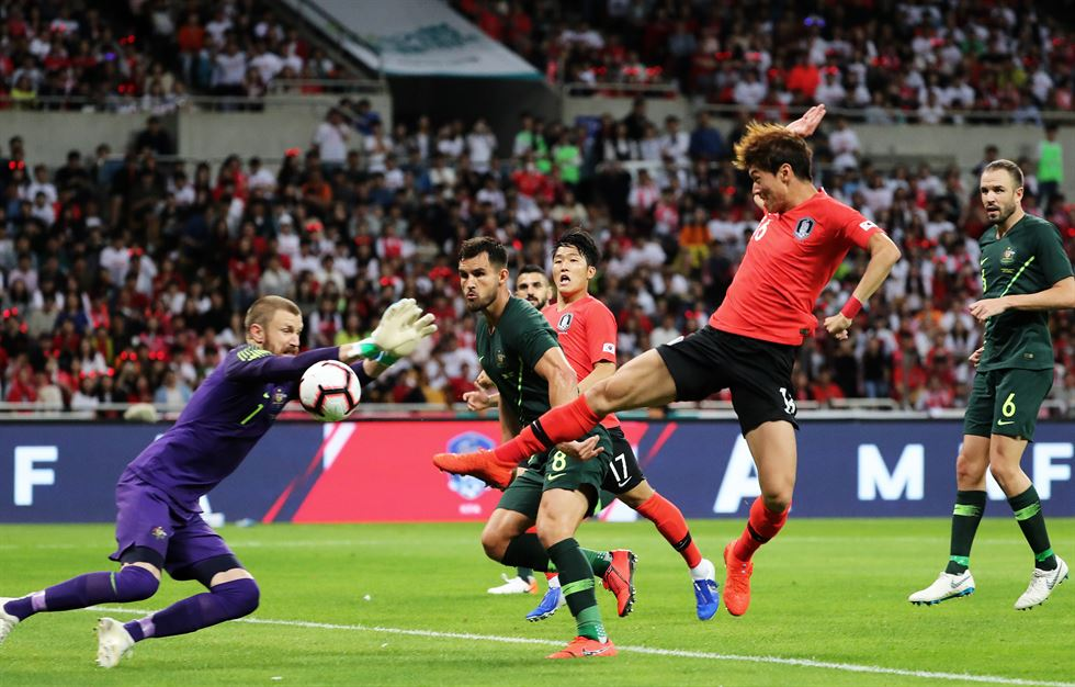Hwang Ui-jo from the South Korean national football team celebrates after scoring against Australia during the second half of a friendly match at Asiad Stadium in Busan, June 7. Yonhap