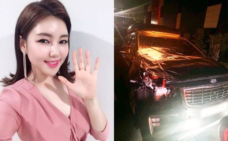 Trot singer Song Ga-in's van was badly damaged in a crash on Thursday. Song received only minor injuries. Capture from Song's Instagram, courtesy of Pocket Dol Studio
