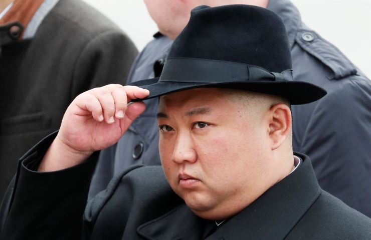 North Korean leader Kim Jong-un attends a wreath laying ceremony at a navy memorial in Vladivostok, Russia, April 26, 2019. Reuters-Yonhap