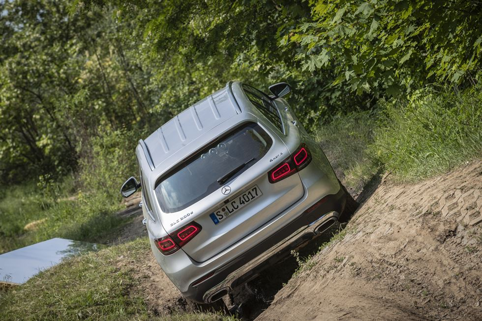 A Mercedes-Benz GLC 300d overcomes humps during a test drive session at ADAC Off-Road Center Rhein-Main near Frankfurt, Germany, Tuesday (local time). Courtesy of Mercedes-Benz