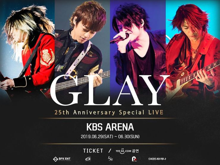Japanese rock band GLAY will hold its first concerts in Korea on June 29-30 at KBS Arena Hall in Hwagok-dong, Seoul. Courtesy of PR BIZ