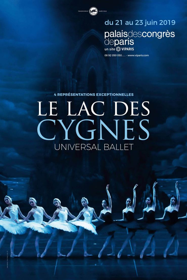 Poster for the Universal Ballet Company's 'Swan Lake' at the Palais des Congres in Paris, France, from June 21-23. Courtesy of UBC