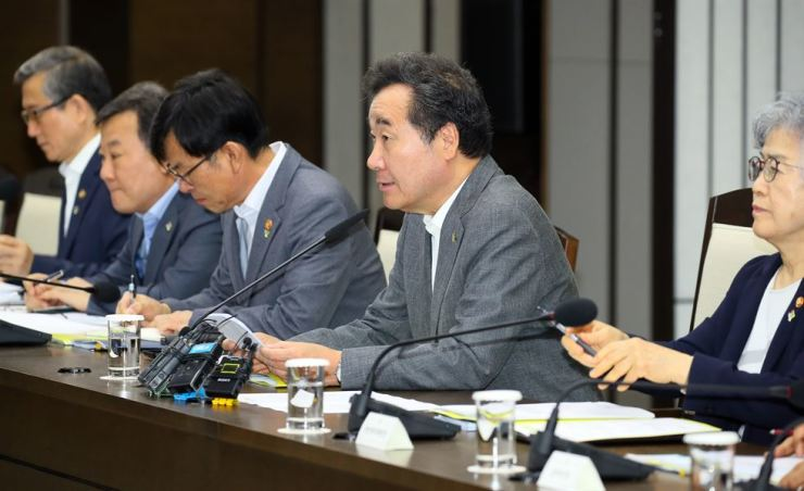 Prime Minister Lee Nak-yon speaks during a meeting at the Government Complex Sejong, Wednesday. Yonhap