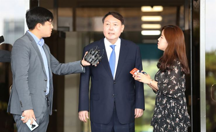 Yoon Seok-youl, chief of the Seoul Central District Prosecutors' Office, speaks to reporters at his office, Monday, after being nominated as prosecutor-general. / Yonhap