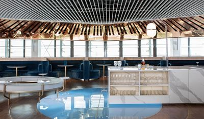 On the left is Le Balcon in the Air France's business lounge at Charles de Gaulle Airport in Paris. Designed by Mathieu Lehanneur, the place provides a comfortable atmosphere for business class passengers of Air France and SkyTeam members. On the right is the Instant Relaxation area, a smartphone free location where people can enjoy a more peaceful and relaxing environment. Courtesy of Air France
