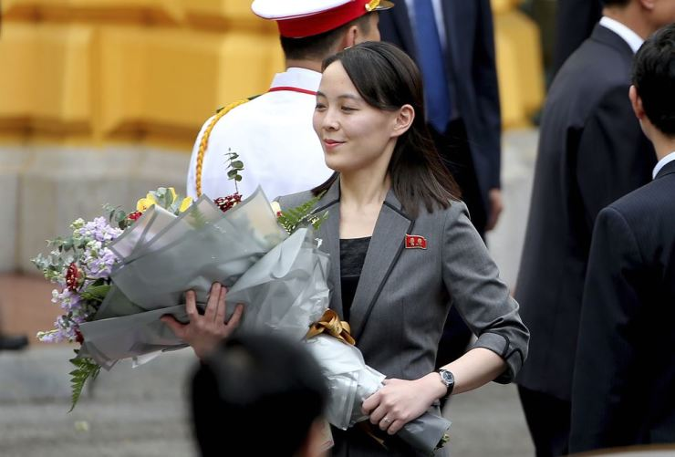 North Korean leader Kim Jong-un's sister Kim Yo-jong holds a bouquet of flowers during a welcoming ceremony at the Presidential Palace, March 1, 2019, in Hanoi, Vietnam. AP-Yonhap