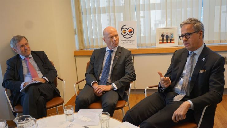 From left, Finnish Ambassador Eero Suominen, Norwegian Ambassador Frode Solberg and Swedish Ambassador Jakob Hallgren participate in a group interview with The Korea Times at the Swedish Embassy in Seoul. / Courtesy of Embassy of Sweden